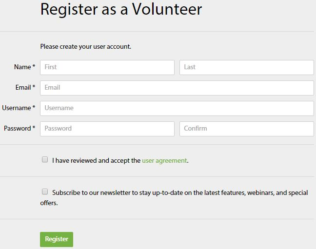 Register as a Volunteer page, Charity Republic